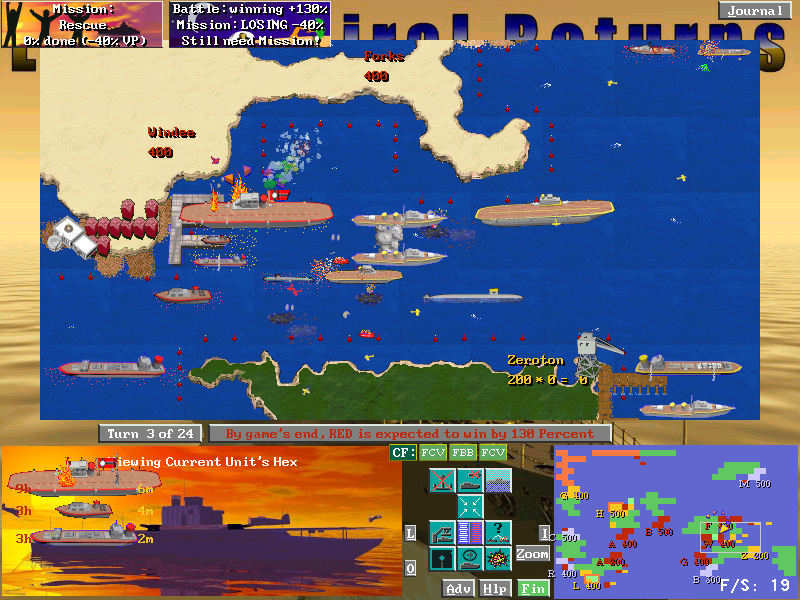 Quick playing strategy naval game enriched with multi-objective special missions